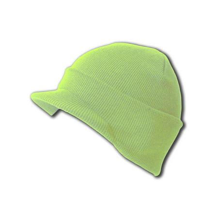 Knit Cuff Beanie Visor - Winter Wear/Sports - Lime Melon Green (Light Up Visor)