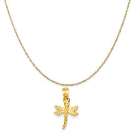 14k Yellow Gold Dragonfly Pendant on a 14K Yellow Gold Rope Chain Necklace, 16""
