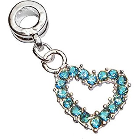 Buckets of Beads Aqua Blue Rhinestone Open Heart Dangle Charm Fits Most Major Charm Bracelets For Women Girls