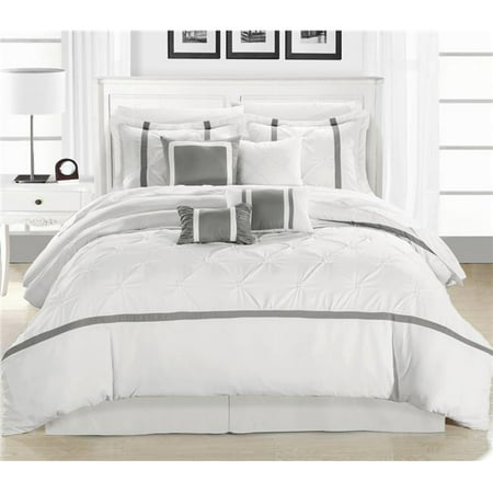 Chic Home 127-160-K-07-US Vermont White & Silver King 12 Piece Bed in a Bag Comforter Set with 4 Piece Sheet Set