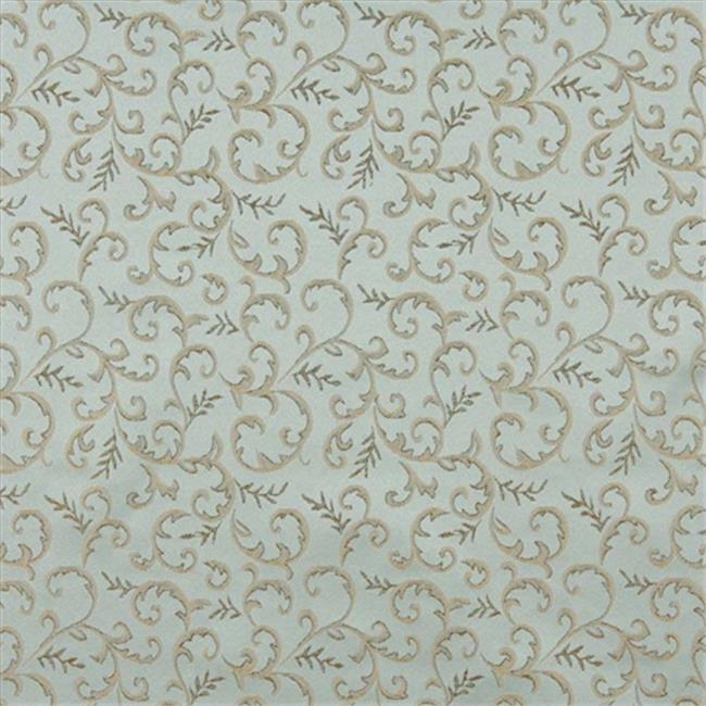 Designer Fabrics E647 54 in. Wide Abstract Floral Light Blue And Gold Damask Upholstery And Window Treatment Fabric