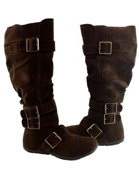 10448620e2f9 Product Image Bella Marie Adult Brown Oversized Buckle Strap Adorned Boots
