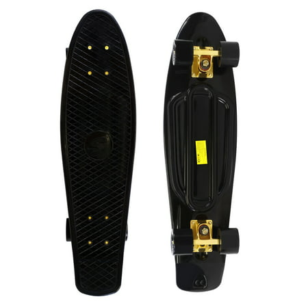 Complete 27 inch Skateboard Plastic Mini Retro Style Cruiser, Black Gold ()