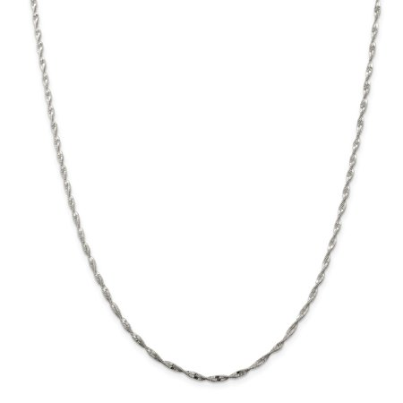 925 Sterling Silver 2mm Twisted Herringbone Necklace Chain -16