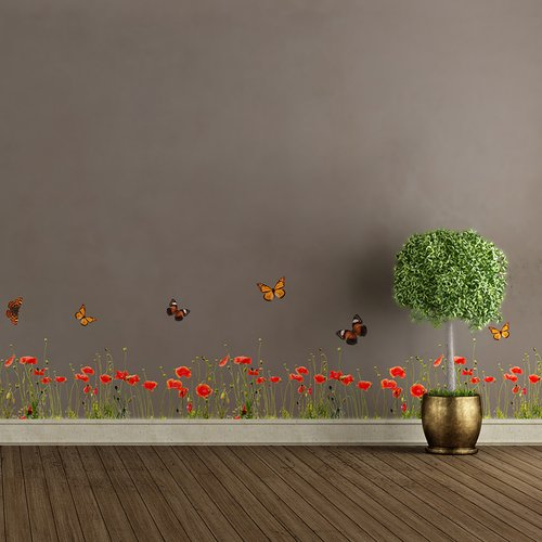WallPops! Poppies and Butterflies Border Wall Decal