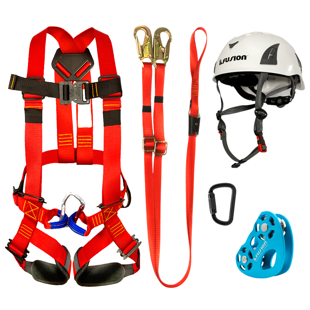 Fusion Climb Kids Backyard Zip Line Kit Harness Lanyard Trolley Carabiner Helmet Bundle FK-K-HLTCH-03