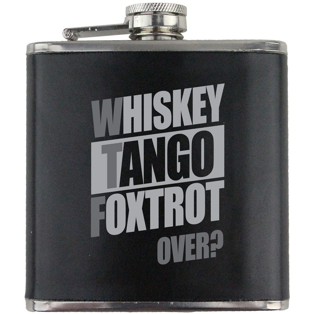 WTF Whiskey Tango Foxtrot Over? Leather Wrapped 6oz. Flask