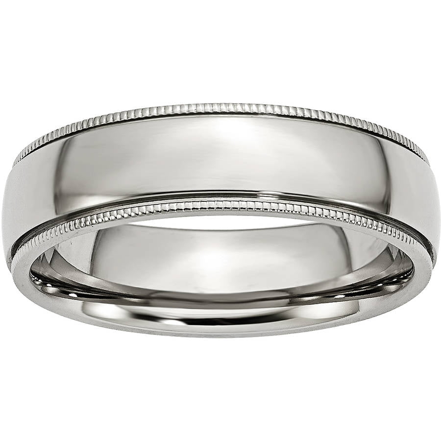 Titanium Grooved and Beaded 6mm Band Fine Jewelry Ideal Gifts For Women