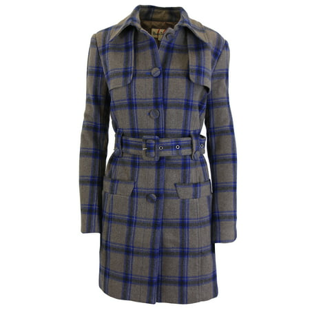 Women's Wool Plaid Trench Coat Jacket With Belt - SLIM-FIT DESIGN - Front Tie Wool Jacket