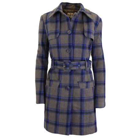 Women's Wool Plaid Trench Coat Jacket With Belt - SLIM-FIT DESIGN