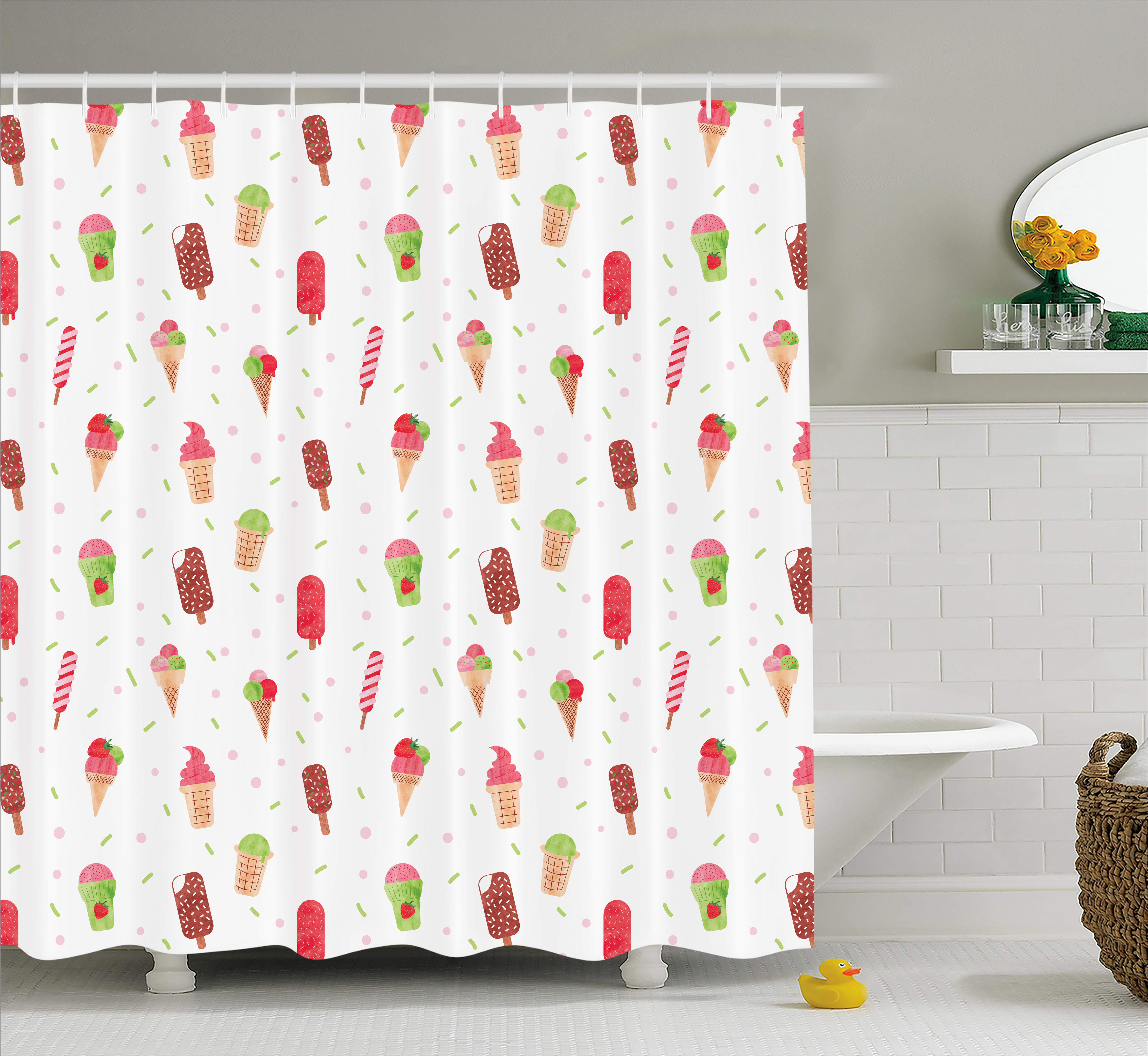 Ice Cream Shower Curtain, Summertime Inspired Watercolor Pattern with Yummy Dessert Ice Lolly and Cone, Fabric Bathroom Set with Hooks, 69W X 70L Inches, Multicolor, by Ambesonne