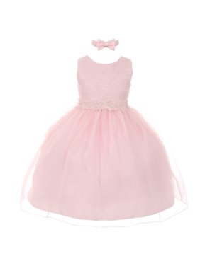 88432d6523e Product Image Rain Kids Little Girls Pink Floral Trim Organza Overlay  Flower Girl Dress