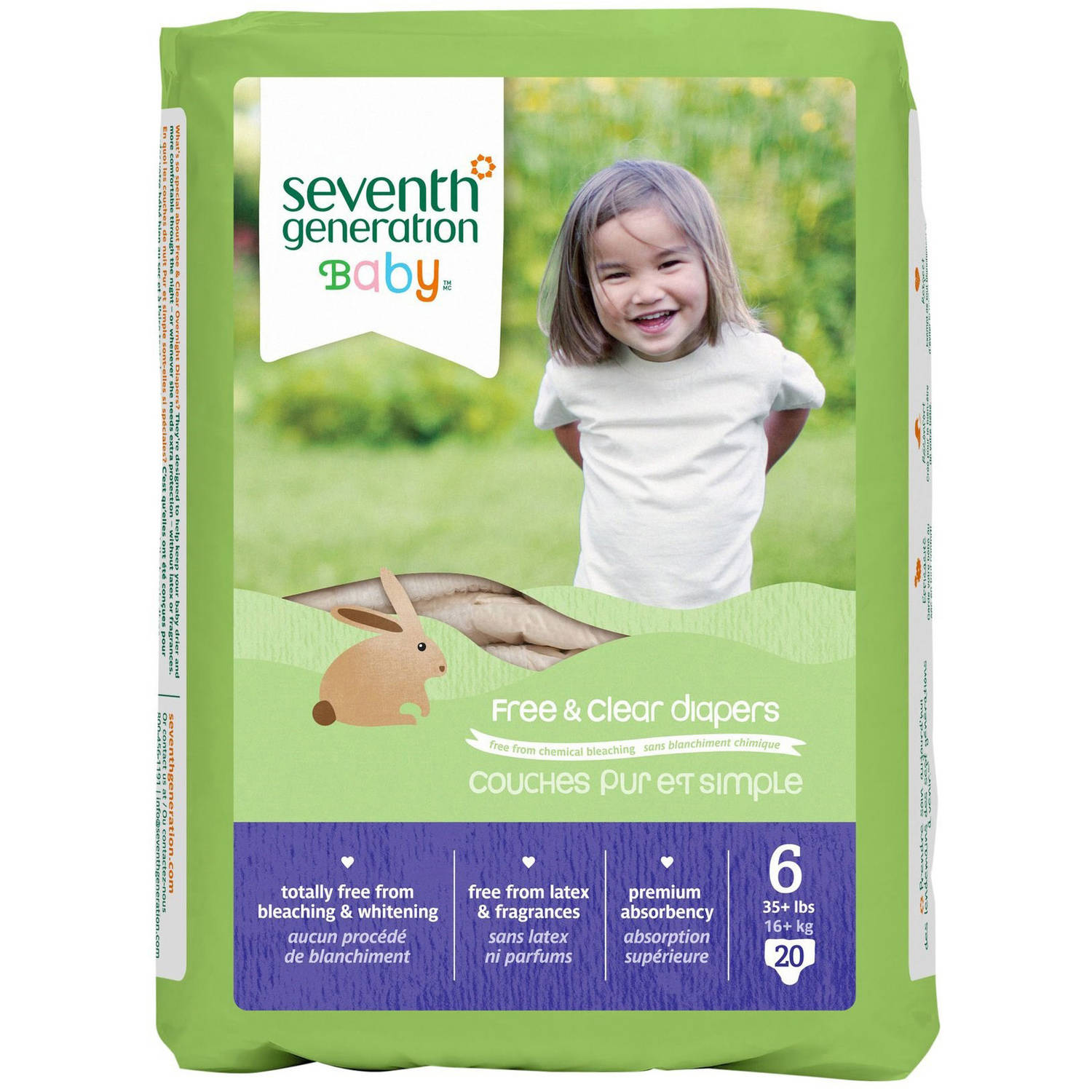 Seventh Generation Free & Clear Diapers, Size 6, 20 Diapers
