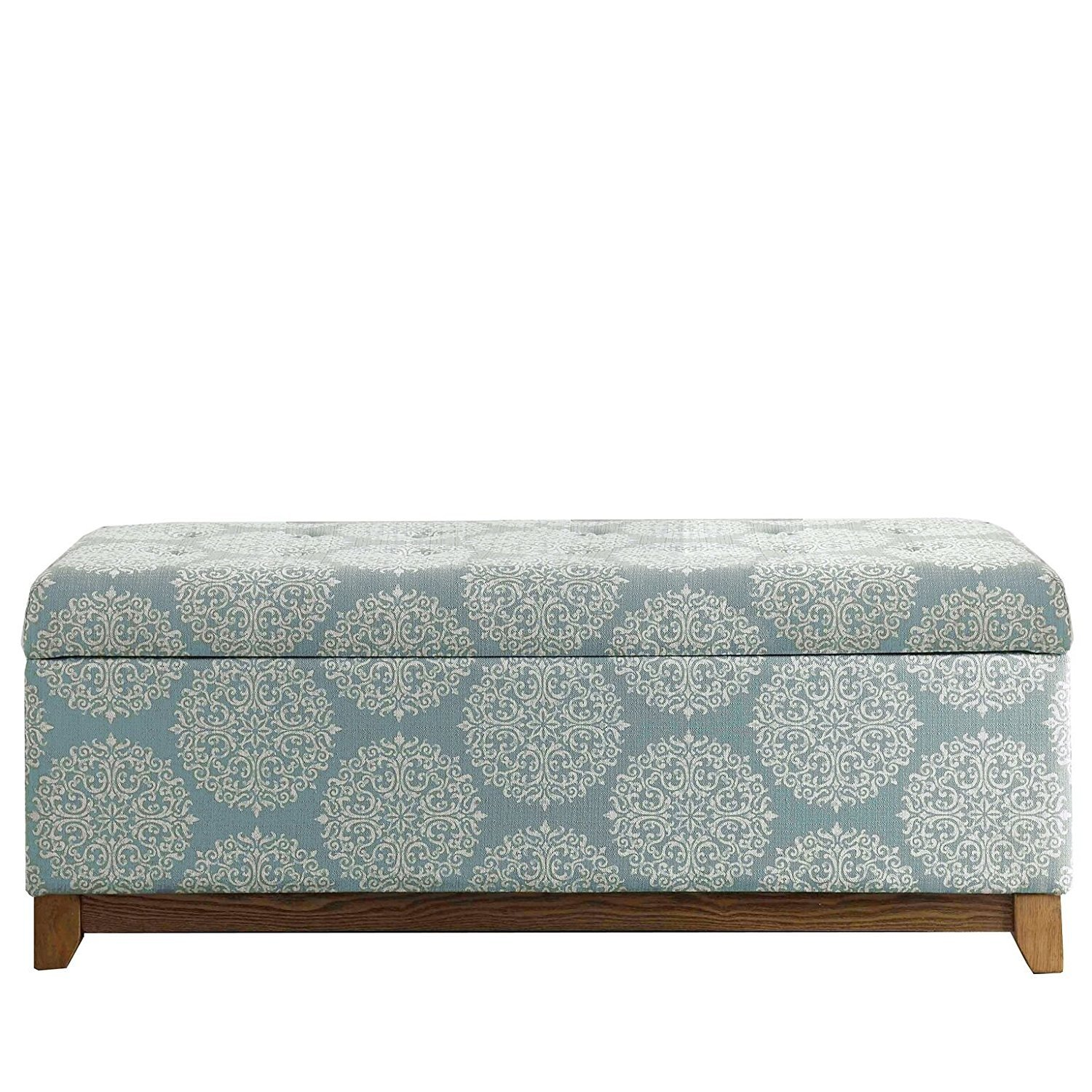 Kinfine Large Upholstered Storage Bench with Hinged Lid, Brown Medallion by Kinfine