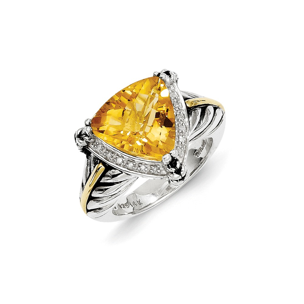 IceCarats 925 Sterling Silver 14k Yellow Citrine Diamond Band Ring Size 8.00 Stone Gemstone Fine Jewelry Gift Valentine... by IceCarats
