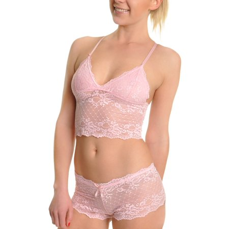 Microfiber Cami Set - Angelina Lace Cami Top and Boxer Shorts Lingerie Set (2-Set)