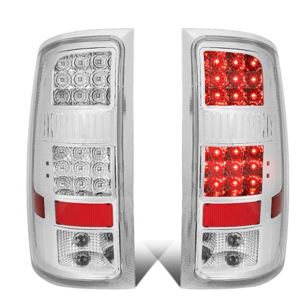 for 2007-2014 gmc sierra pair chrome housing clear lens full led tail light rear brake lamps (Gmc Jimmy Tail Light Lens)