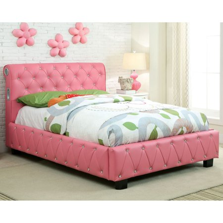 Furniture of America Makayla Grand Collection Leatherette Bed - Pink