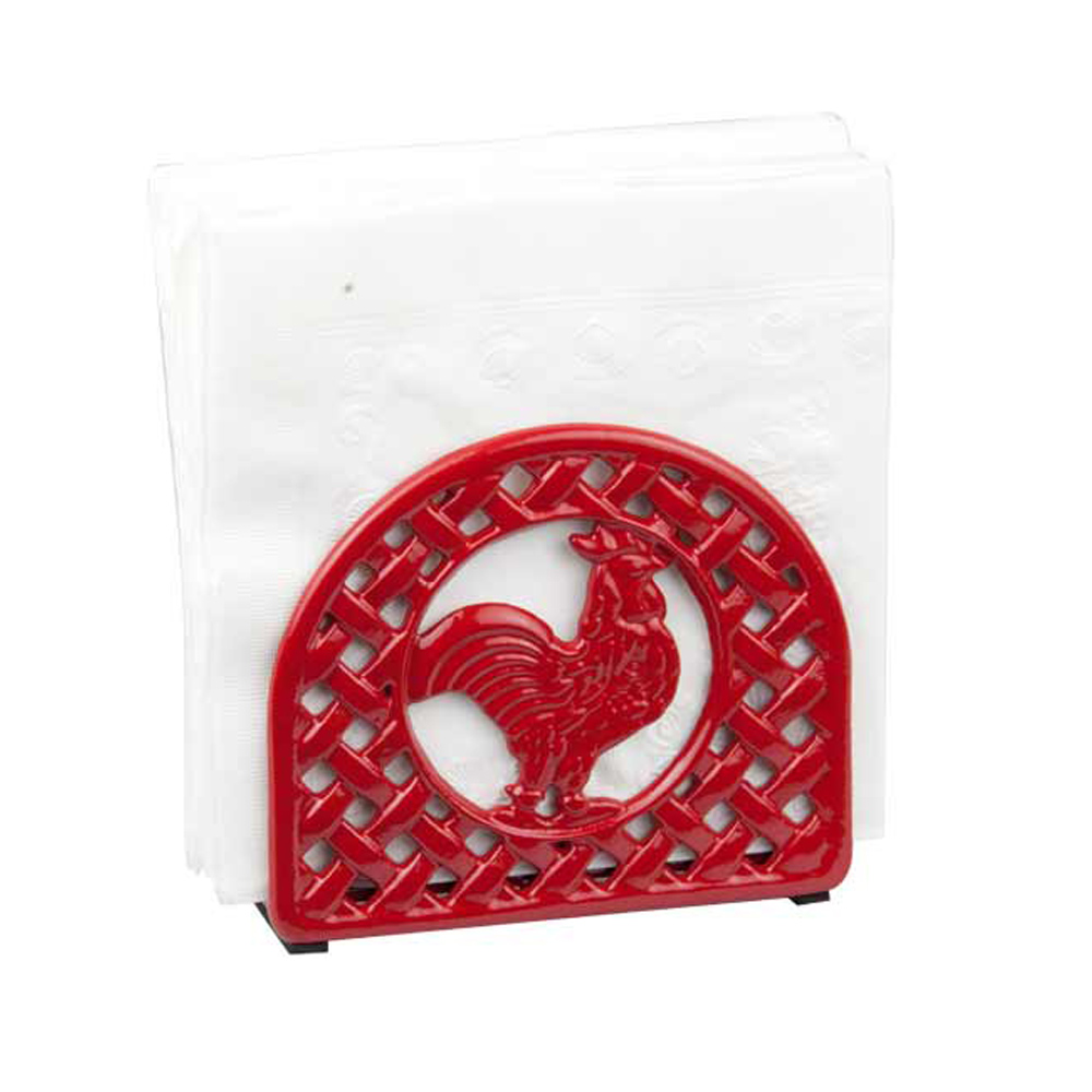 Home Basics Red Cast Iron Rooster Tabletop Napkin Holder