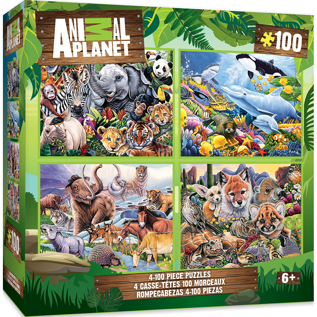 4-pack Animal Planet Multipack 100 Piece Puzzles by MasterPieces