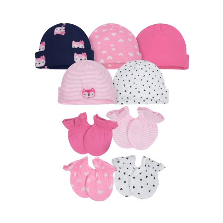 Gerber Assorted Caps and Mittens Accessories Bundle, 9pc Set (Baby Girls) ()