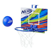 Nerf Nerfoop, The Classic Mini Foam Basketball and Hoop, Hooks On Doors, Blue
