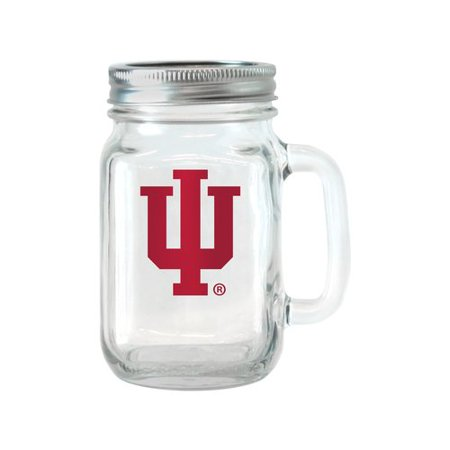 NCAA 16 oz Indiana Hoosiers Glass Jar with Lid and Handle, - Indiana Glass Patterns