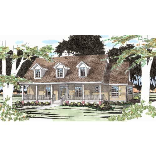 TheHouseDesigners-2906 Country House Plan with Slab Foundation (5 Printed Sets)