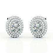 Certified Double Halo Set 1.25 Carat Egg Shape Moissanite 4 Prong Stud Earrings in 18K White Gold Plating over Silver