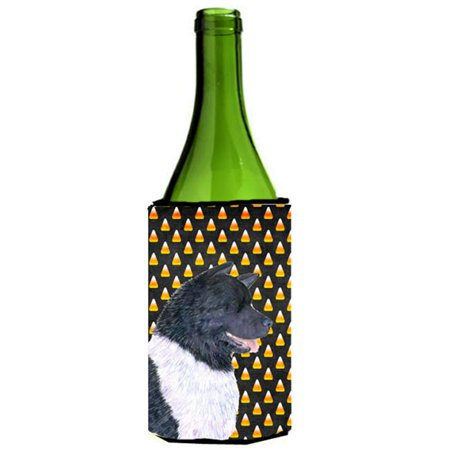 Akita Candy Corn Halloween Portrait Wine Bottle  Hugger - 24 oz.