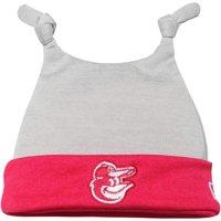 Baltimore Orioles New Era Newborn Shadow Tot Dub Cuffed Knit Hat - Gray/Pink - OSFA