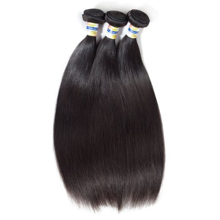 YYONG Hair Brazilian Straight Virgin Hair 3 bundles With Lace frontal No Tangle No Shedding, 18