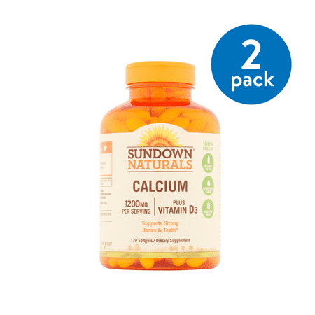 (2 Pack) Sundown Naturals Calcium plus Vitamin D3 Softgels, 1200 Mg, 170 Ct