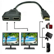 EleaEleanor HDMI Port Male To Female 1 Input 2 Output Splitter Cable Adapter Converter 1080P HD HDMI Cable