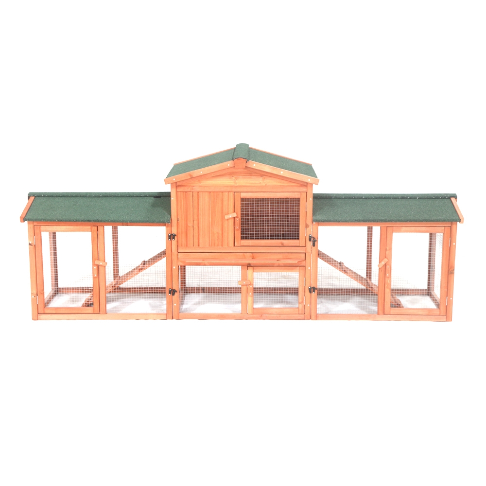 ALEKO Fir Wood Chicken Coop   Rabbit Hutch with Chicken Run 89 x 24 x 34 Inches by ALEKO