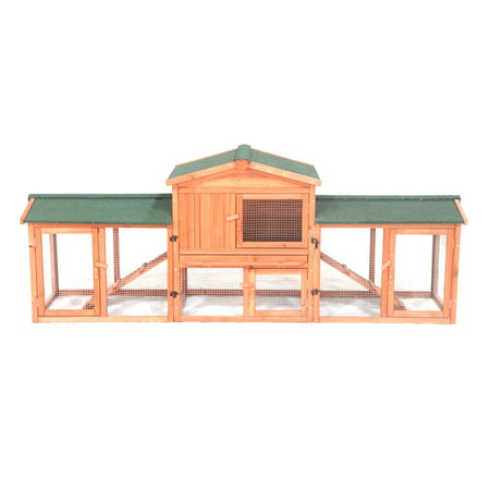 89 Inch Joined Board - ALEKO Fir Wood Chicken Coop / Rabbit Hutch with Chicken Run - 89 x 24 x 34 Inches