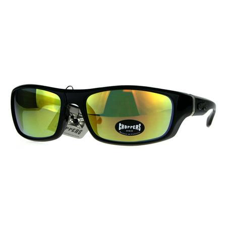 Mens Choppers Classic Biker Sport Warp Rectangular Sunglasses Orange Mirror
