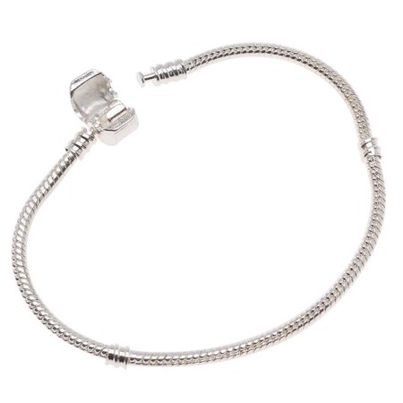 Bracelets With Beads (Silver Tone Threaded Snake Chain 8 Inch Bracelet With Snap Clasp For European Style Large Hole)