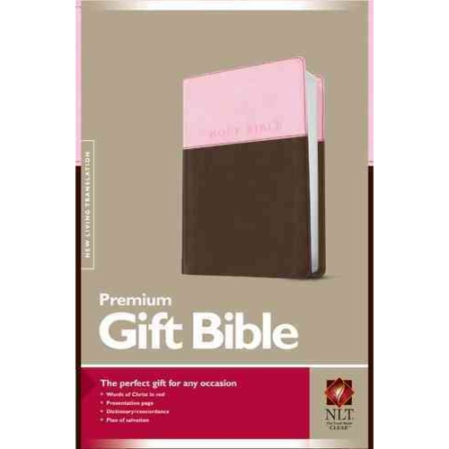 Holy Bible: New Living Translation, Pink/Dark Brown, Tutone, Leatherlike, Premium Gift Bible