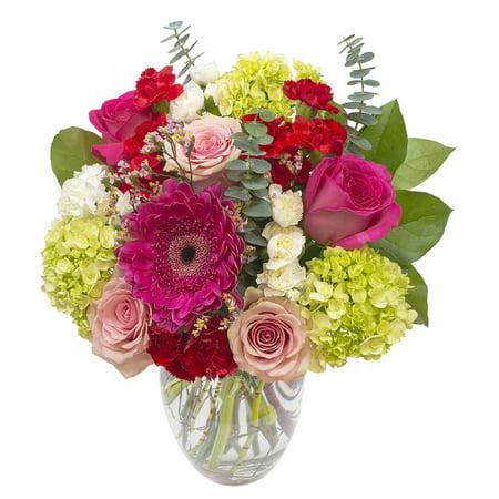 Valentine's Day, Pink Splendor Bouquet, 21 Stems, Vase Included