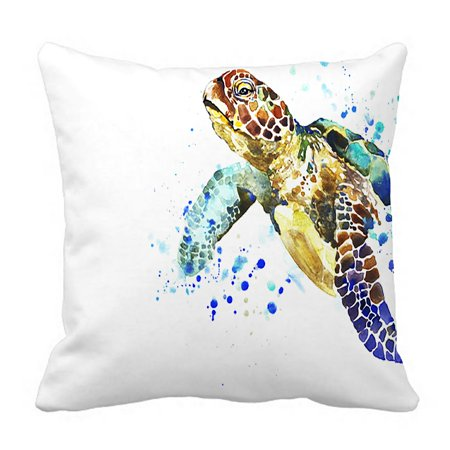 PHFZK Cute Animal Pillow Case, Watercolor Sea Turtle Pillowcase Throw Pillow Cushion Cover Two Sides Size 18x18 inches ()