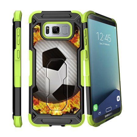 Case for Samsung Galaxy S8 Plus Version [ UFO Defense Case ][Galaxy S8 PLUS SM-G955][Green Silicone] Carbon Fiber Texture Case with Holster + Stand Soccer Collection
