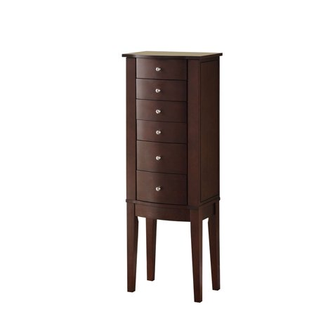 Powell 6 Drawer Free Standing Contemporary Merlot Jewelry ...