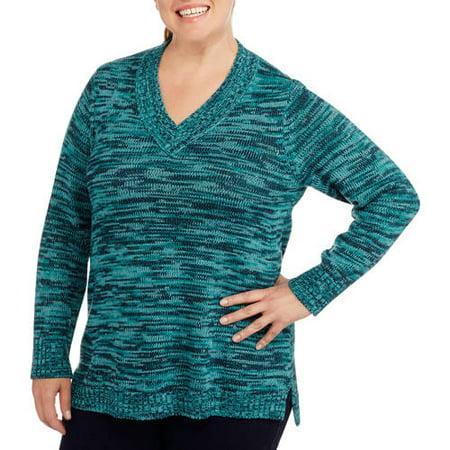 f48076fbb2 Faded Glory - Women s Plus-Size Marled V-Neck Tunic Sweater ...