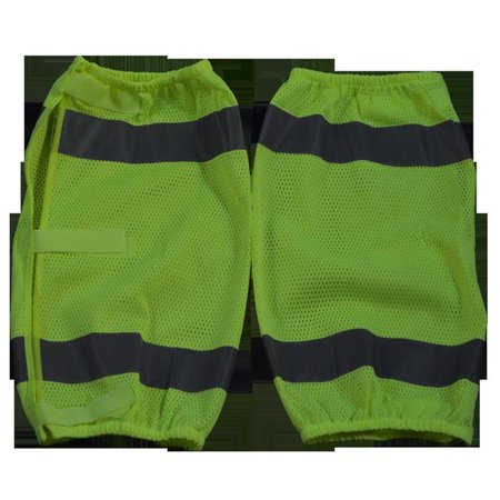 Petra Roc LMG-CE 2 x 18 in. ANSI Class E Lime Mesh Reflective Leggings with Adjustable cloth hook and eye Closures, One Size