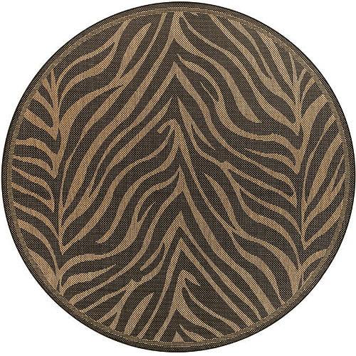 """Couristan Recife Zebra Indoor/Outdoor Rug, Black/Cocoa, 7'6"""" Round"""