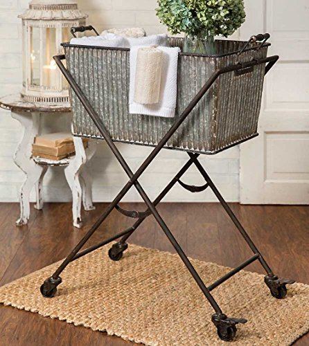 Colonial Tin Works Industrial Wash Bin with Rolling Floor...