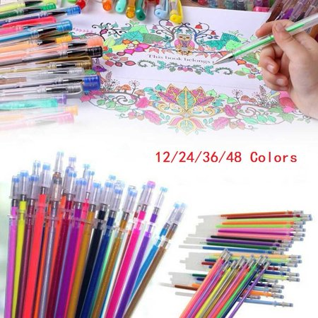 12/24/36/48 Matching Color Refills, Color Artist Gel Pen Refills Set, More Ink Largest Non-Toxic Art Neon Pen for Adults Coloring Books Craft Doodling Drawing Neon Gel Pen