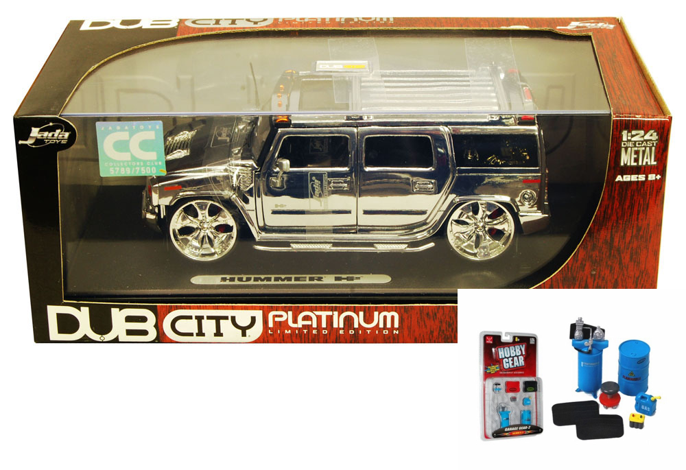 Diecast Car & Garage Diorama Package Hummer H2, Platinum Chrome Jada Toys Dub City... by ModelToyCars