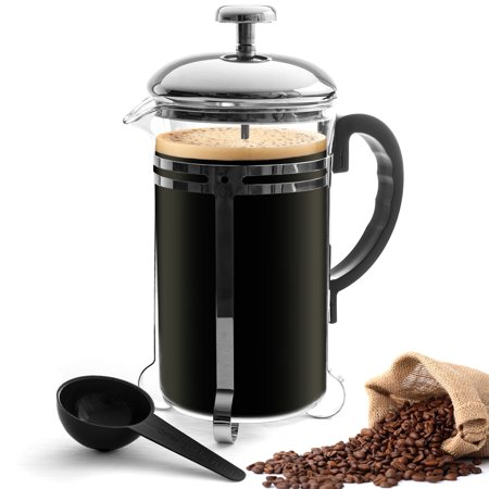 24oz french press coffee tea maker 6 cup heat resistant glass stainless steel. Black Bedroom Furniture Sets. Home Design Ideas